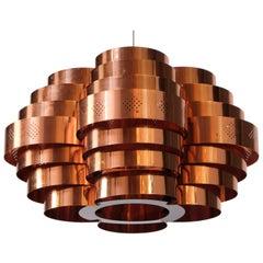 Copper Ceiling Pendant, Sweden, 1970s