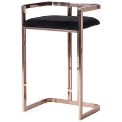 Copper Colored Metal And Black Velvet Seat Bar Stool / Counter Stool