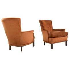 Copper Colored Velour Velvet Lounge Chairs Armchairs with Quilted Medallion