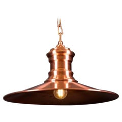 Copper Coloured Flat Pendant Light, 20th Century