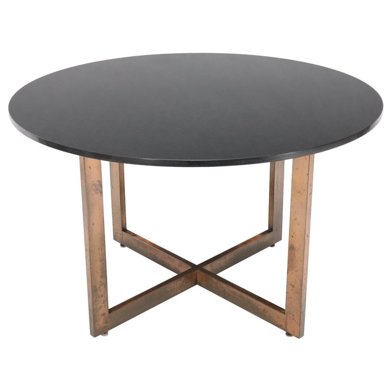 Copper Cross Base Round Thick Granite Top Dining Conference Table