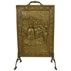 Copper Embossed Fireplace Screen Fire Screen, 1920's