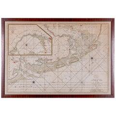 Copper Engraving Carte des Entrees du Suyder Zee et de L'Embs, 1693