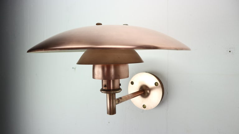 Copper Exterior Wall Light 'PH 4.5/3' by Poul Henningsen for Louis Poulsen, 1960 For Sale 9
