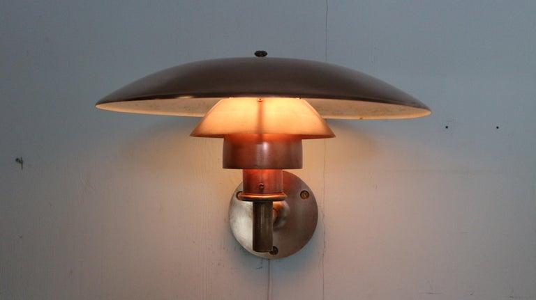 Copper Exterior Wall Light 'PH 4.5/3' by Poul Henningsen for Louis Poulsen, 1960 For Sale 11
