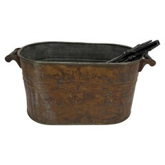Copper Fireplace Log Bucket with Black Iron Tools, 19th Century French Napoleon