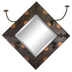 Copper Flash Mirror Hat Rack