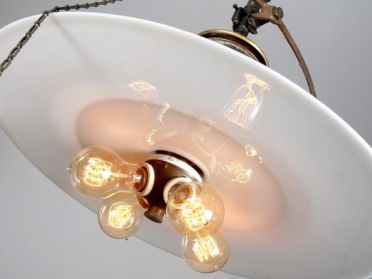 19th Century Copper Gas Lantern with Flat Milk Glass Shade