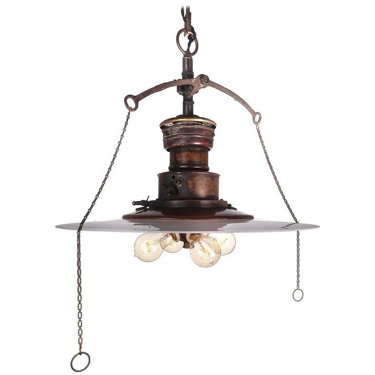 Copper Gas Lantern with Flat Milk Glass Shade