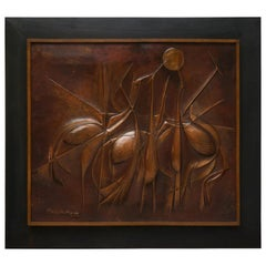 Copper Hand-Hammered Birds Art Work Wall Decoration Panel, 1990