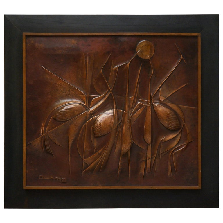 Copper Hand-Hammered Birds Art Work Wall Decoration Panel, 1990 For Sale