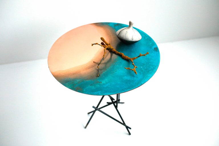 Copper Hand-Sculpted Side Table by Samuel Costantini 4