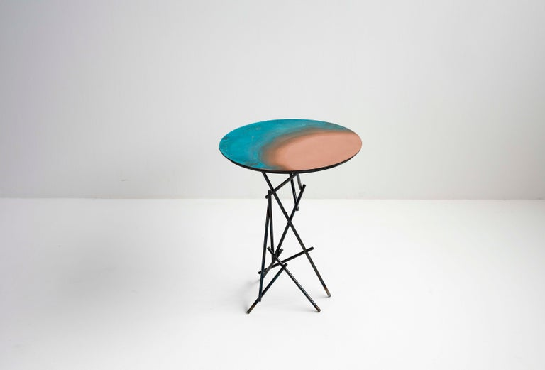 Copper Hand-Sculpted Side Table by Samuel Costantini 8