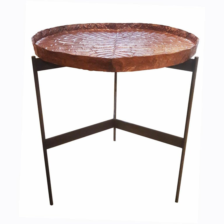 Repoussé  Copper High Tray Table For Sale