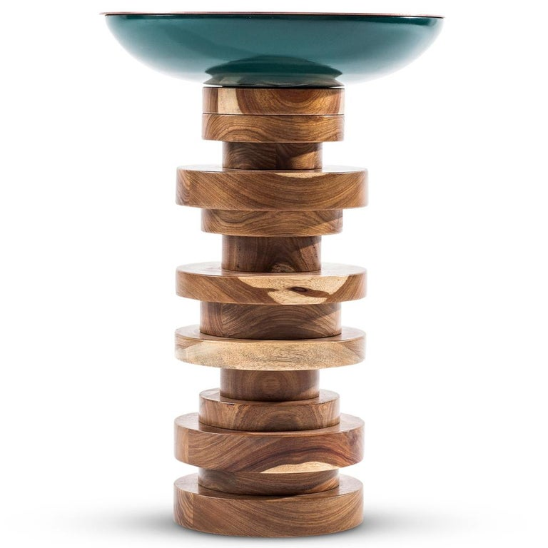 Copper, Lacquered Wood & African Kiaat Verdigris TOTEM Side Table by Egg Designs 3