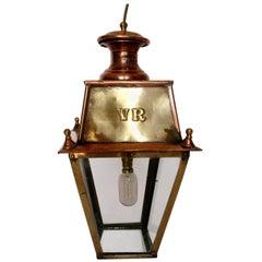 Copper Lantern, English, Mid-20th Century, Entrance Hall Lamp, Decorative Piece