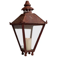 Copper Lantern in Red Paint