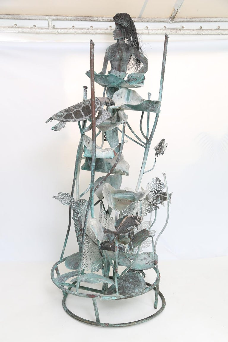 Copper Mermaid Fountain by Glen Mayo For Sale 5
