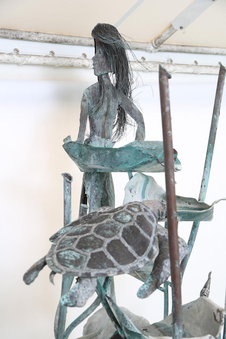 Copper Mermaid Fountain by Glen Mayo For Sale 6