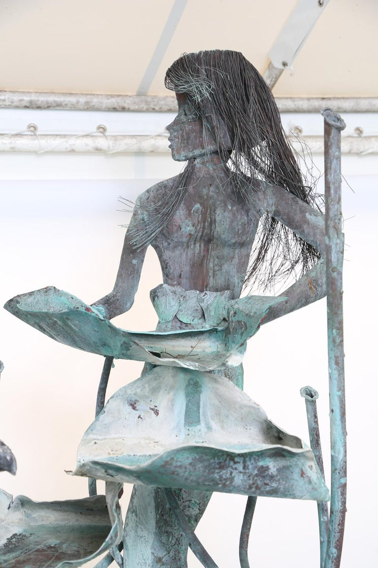 Copper Mermaid Fountain by Glen Mayo In Good Condition For Sale In West Palm Beach, FL
