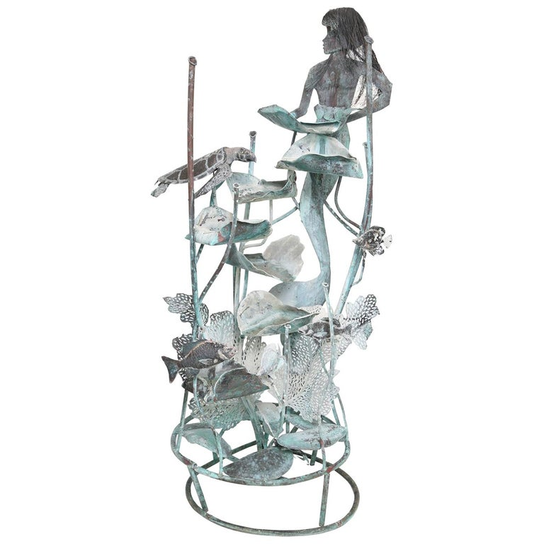 Copper Mermaid Fountain by Glen Mayo For Sale