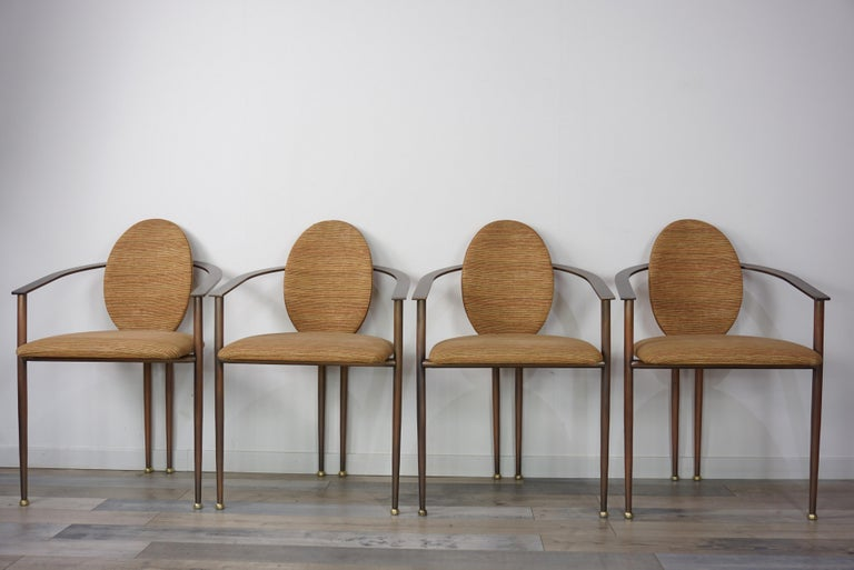 Copper Metal and Fabric Dutch Design Belgo Chrome Armchair For Sale 5