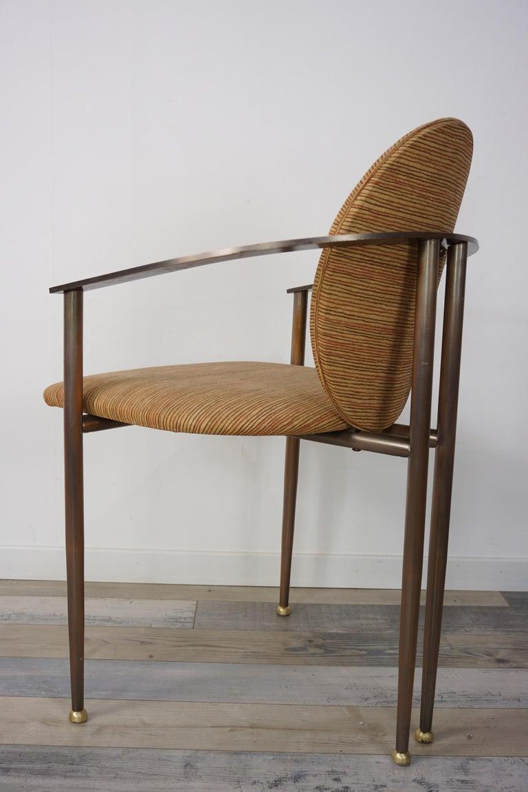 Belgian Copper Metal and Fabric Dutch Design Belgo Chrome Armchair For Sale