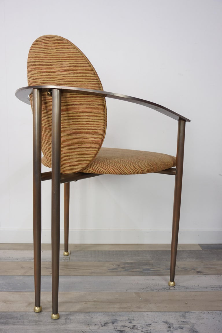 20th Century Copper Metal and Fabric Dutch Design Belgo Chrome Armchair For Sale