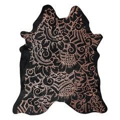Copper Metallic Boho Batik Pattern Black Cowhide Rug, Large