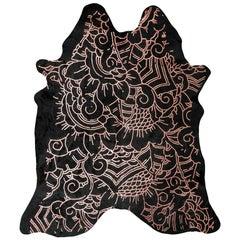 Copper Metallic Boho Batik Pattern Black Cowhide Rug, Medium