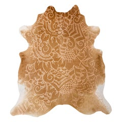 Copper Metallic Boho Batik Pattern Caramel Cowhide Rug, Large