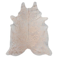 Copper Metallic Boho Batik Pattern Cream Cowhide Rug, Large