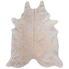 Copper Metallic Boho Batik Pattern Cream Cowhide Rug, Medium