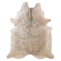 Copper Metallic Boho Batik Pattern Gray Cowhide Rug, Large