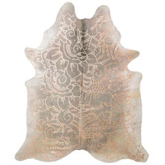 Copper Metallic Boho Batik Pattern Gray Cowhide Rug, Medium