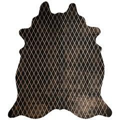 Copper Metallic Diamond Pattern Black Cowhide Rug, Large