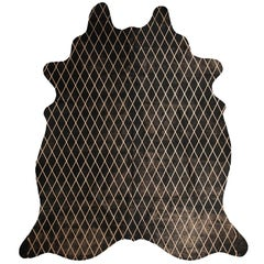 Copper Metallic Diamond Pattern Black Cowhide Rug, Medium
