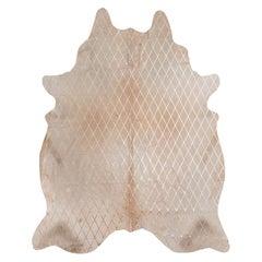 Copper Metallic Diamond Pattern Caramel Cowhide Rug, Large