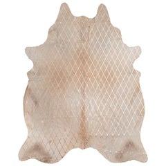 Copper Metallic Diamond Pattern Caramel Cowhide Rug, Medium