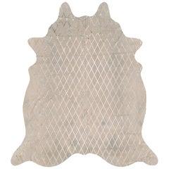 Copper Metallic Diamond Pattern Cream Cowhide Rug, Medium