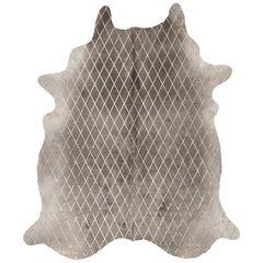 Copper Metallic Diamond Pattern Gray Cowhide Rug, Large