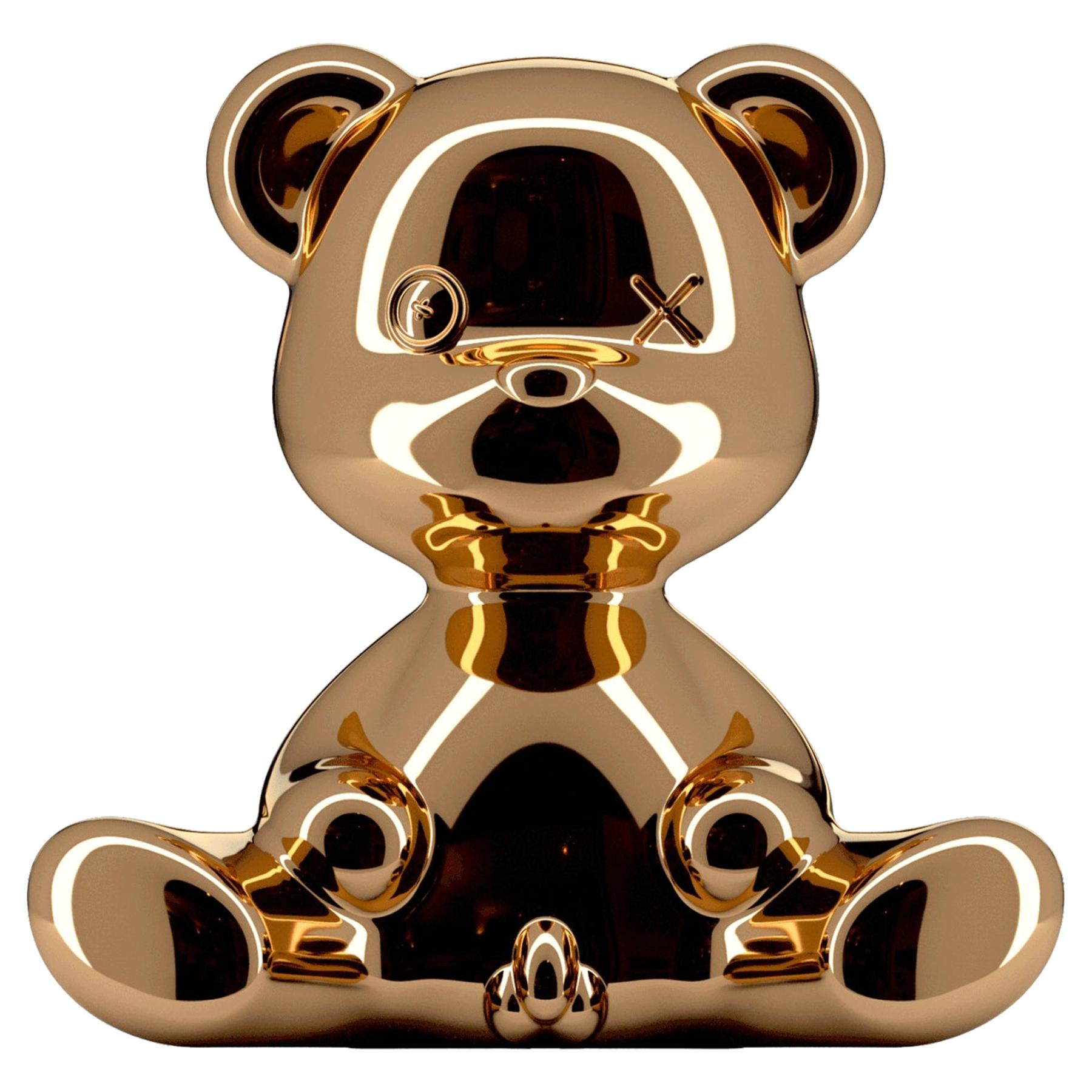 Copper Metallic Teddy Bear Lamp with LED, Made in Italy