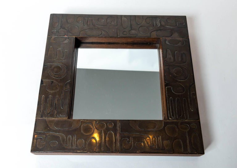 Copper Mirror with Graphic Inlay Design, Signed C. Perrat In Good Condition For Sale In New York City, NY