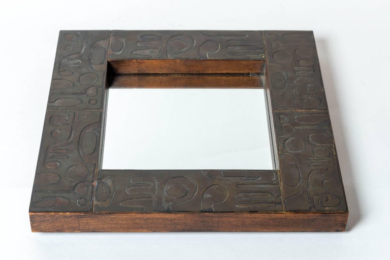 Copper Mirror with Graphic Inlay Design, Signed C. Perrat For Sale 1