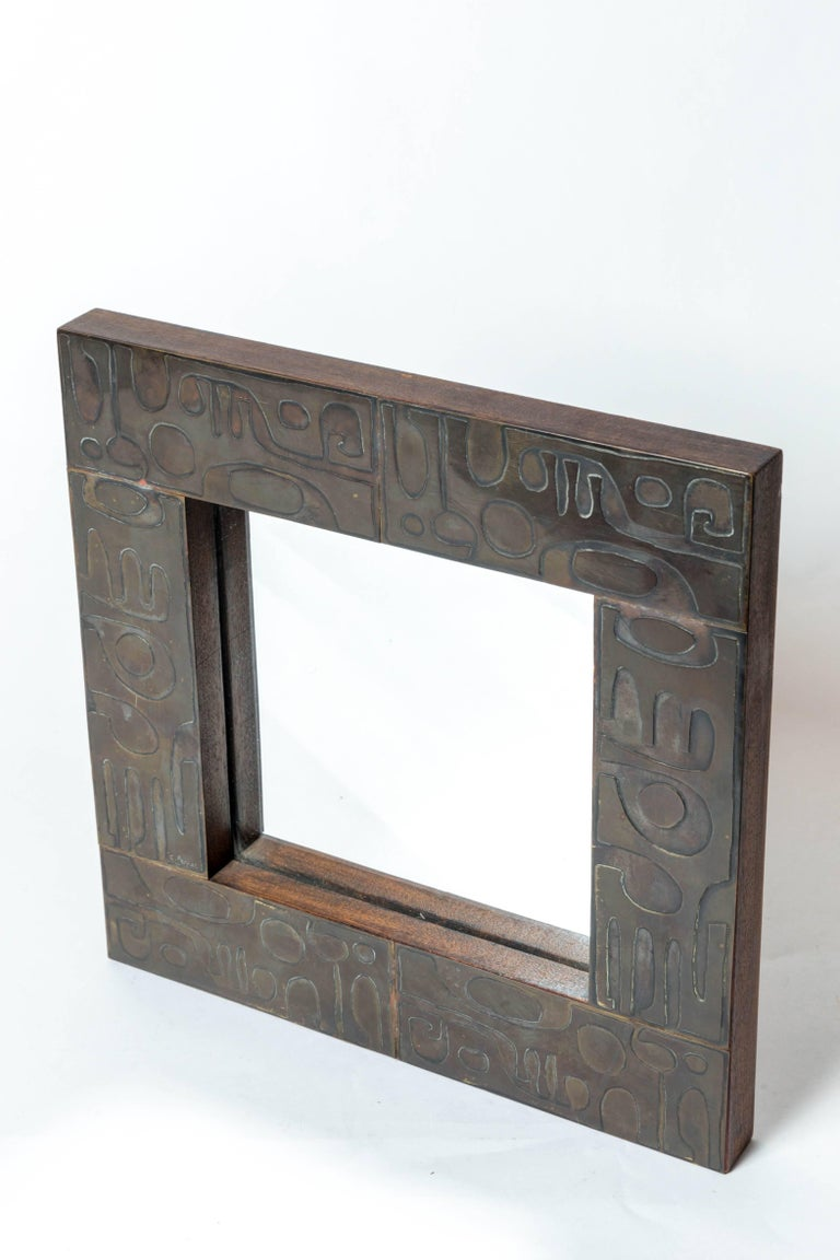 Copper Mirror with Graphic Inlay Design, Signed C. Perrat For Sale 2