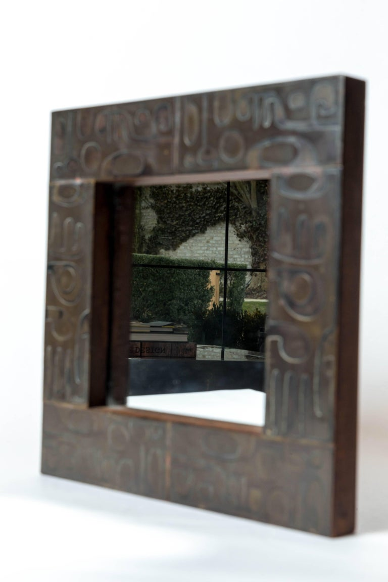 Copper Mirror with Graphic Inlay Design, Signed C. Perrat For Sale 3