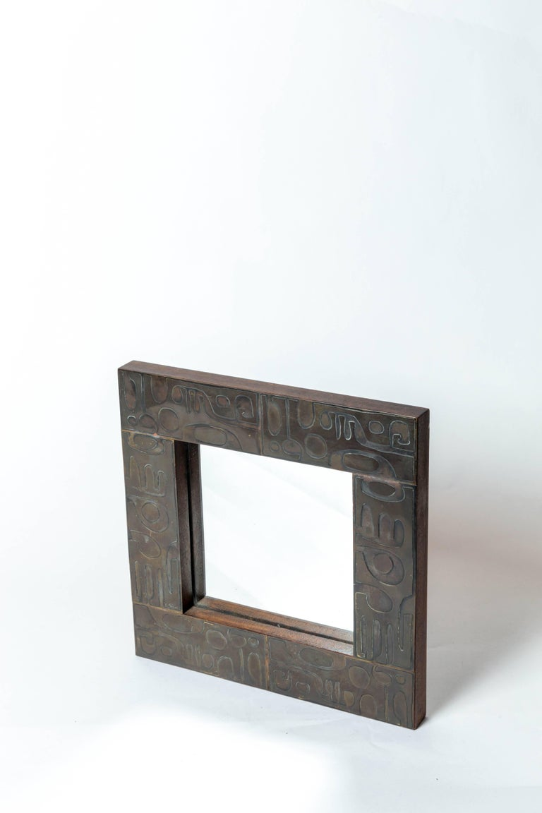 Copper Mirror with Graphic Inlay Design, Signed C. Perrat For Sale 4