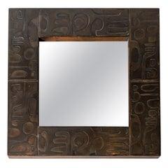 Copper Mirror with Graphic Inlay Design, Signed C. Perrat