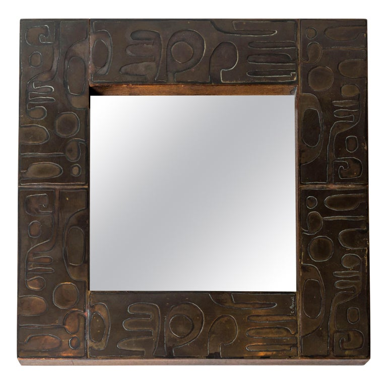 Copper Mirror with Graphic Inlay Design, Signed C. Perrat For Sale