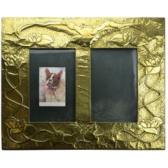 Copper on Wood Double Picture Frame, Hand-Hammered and Embossed, Art Nouveau